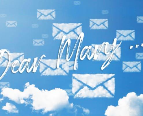 Dear Mary E-mail icon pattern cloud shape.