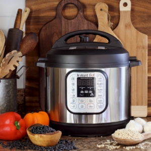 Instant Pot with Beans Rice and Fresh Vegetables