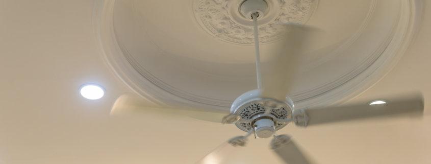 ceiling fan white hot day cool inside