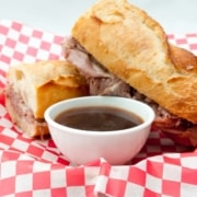 A french beef dip sandwich au jus