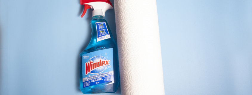 Windex and paper towel