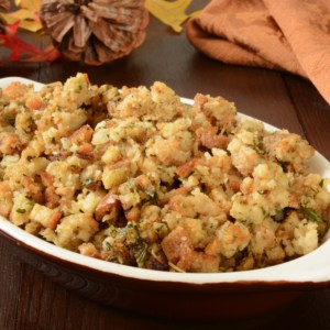 A small casserole dish of herbal holiday stuffing