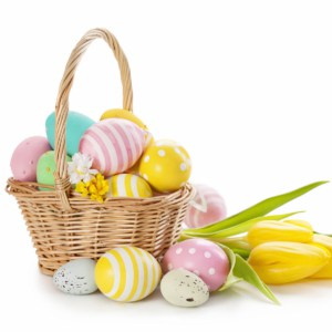 easter basket filled with boiled eggs
