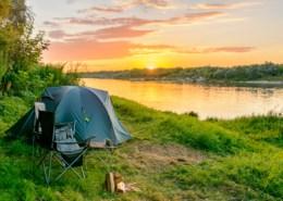 campsite at sunrise