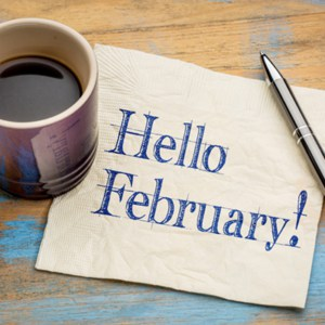 Hello February on napkin
