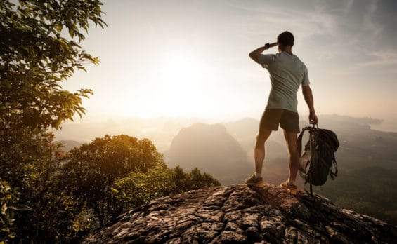 A man standing on a rock