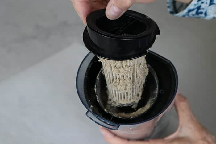 Taking the filter out of the stick vac