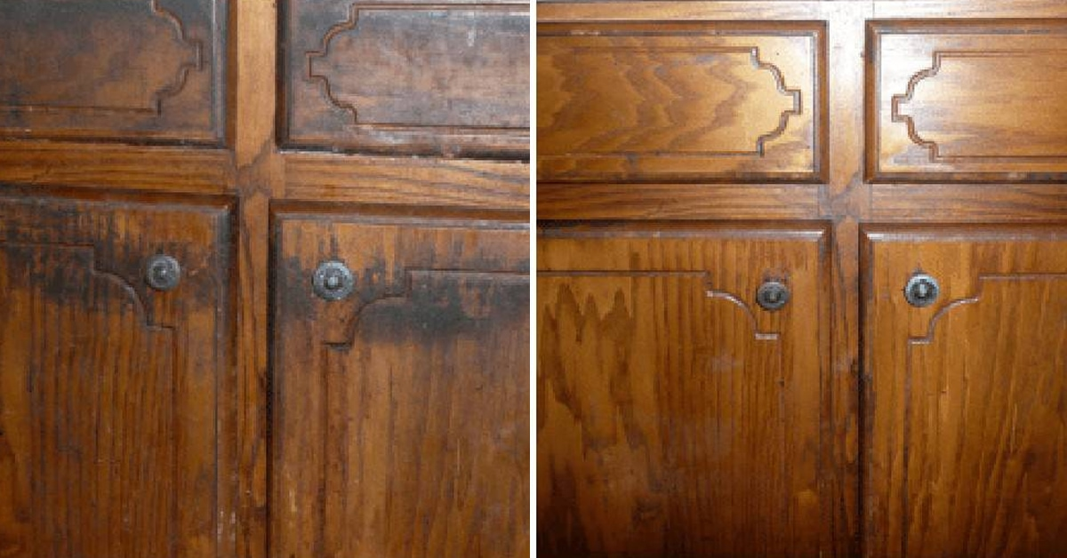 before and after proper cleaning of filthy kitchen cabinet