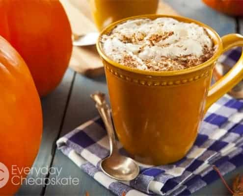 A cup of coffee and a glass of orange juice, with Latte and Pumpkin