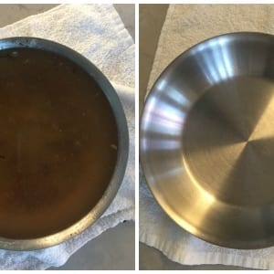 Burned on mess in pan before and after cleaning