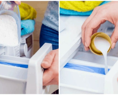A collage of two photos showing femal pouring powder and liquid laundry detergent into washer