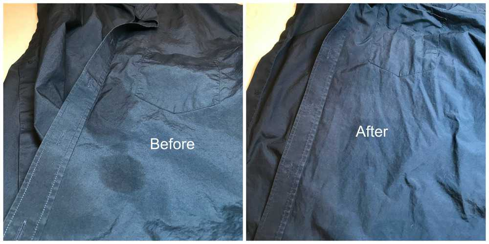 Before After Results of Lestoil Heavy-Duty Stain Treatment