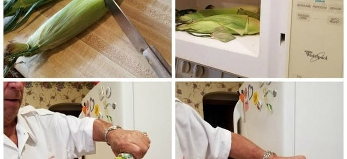 Collage showing steps to prepare corn on the cob in the microwave oven.
