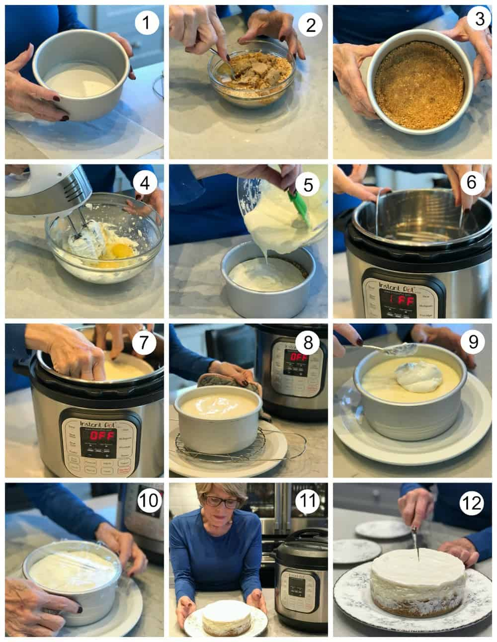 images showing steps to make Instant Pot Cheesecake