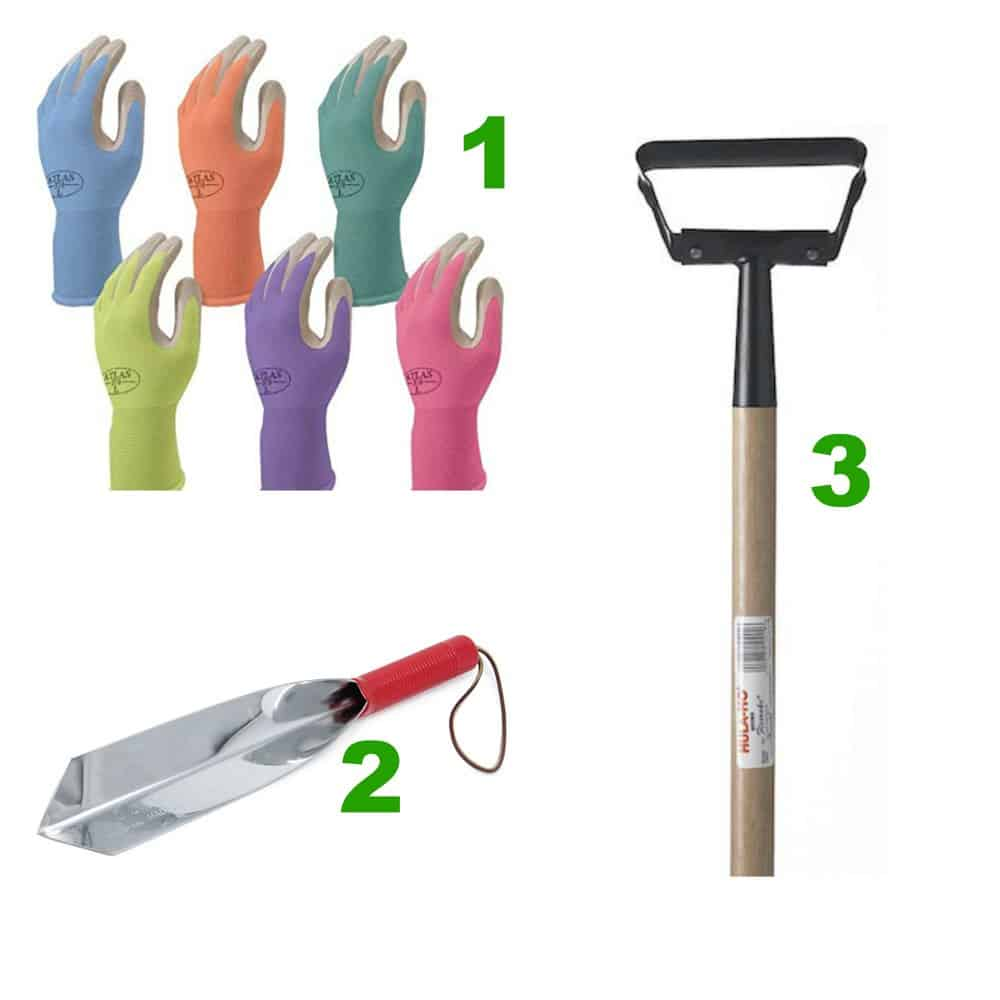 Gloves, trowel and weeder for the DIY gardener
