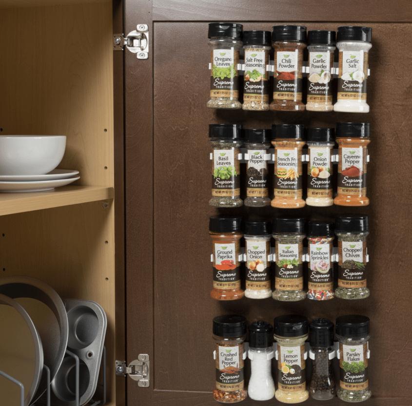 spice rack inside cabinet
