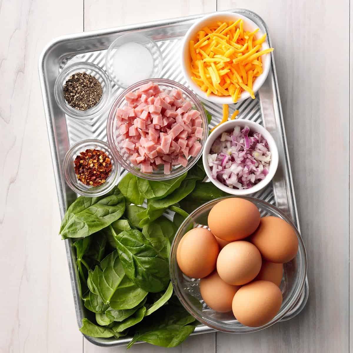sheet pan holding prepped ingredients