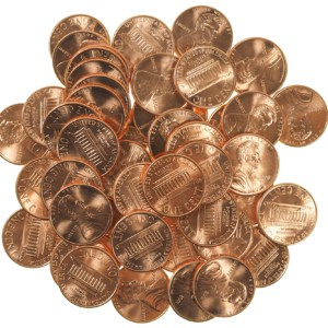 US Pennies shiny new