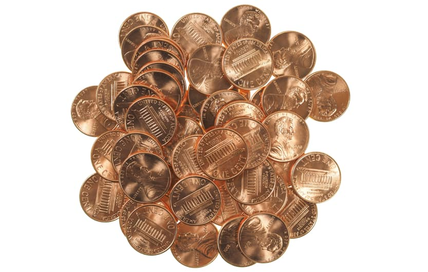US Pennies shiny new