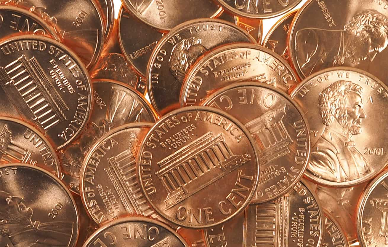 US Pennies in a pile