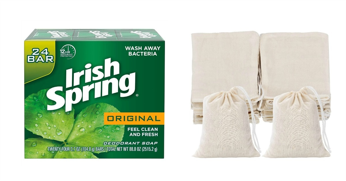 24-pak Irish Spring soap and cloth bags for rabbit repellant