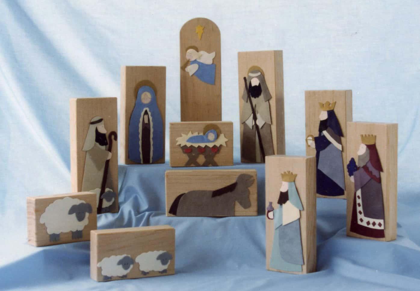 wood block nativity set for child play