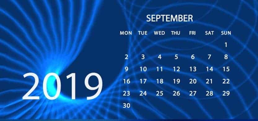 Month of September 2019 with beautiful blue background and the calendar