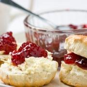 Homemade Bisquick biscuits with freezer jam