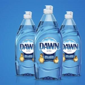 3 bottles of Blue Dawn on blue background