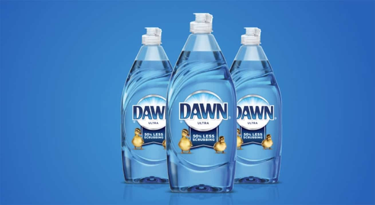 3 bottles of Blue Dawn on blue background