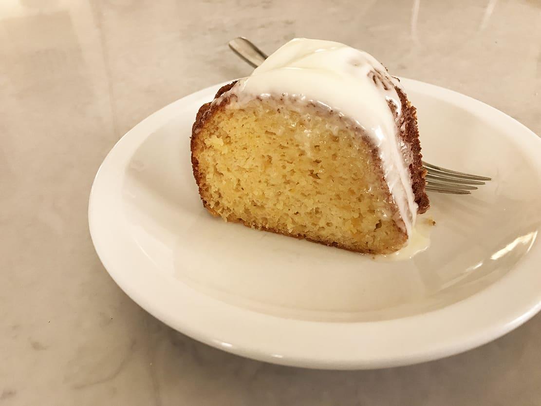 slice peach bundt cake