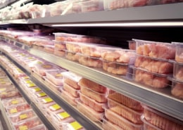 supermarket case filled with chicken