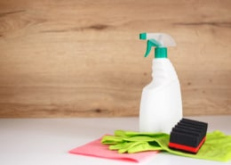cleaning supplies: cleaning spray bottle with plastic dispenser, protective gloves, sponge