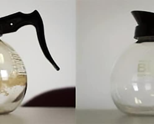 coffee carafe before after cleaning with salt and ice