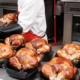 rack of Costco rotisserie chickens