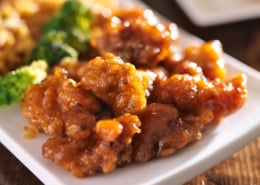 crispy orange chicken with rice