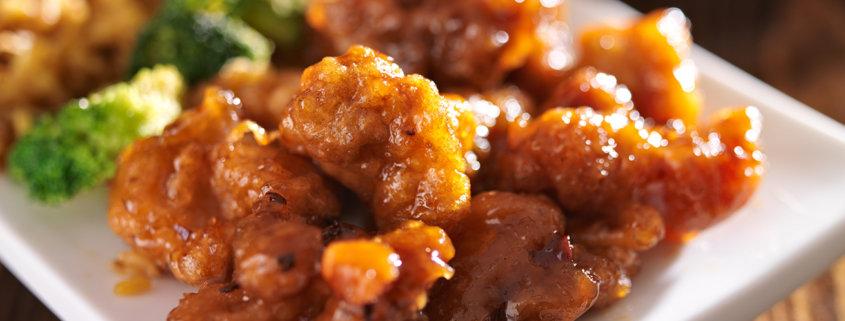 crispy orange chicken with rice