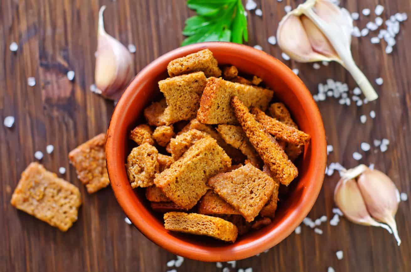 homemade croutons made with stale bread, salt and garlic