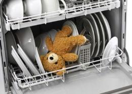 dishwasher holding toy bear with white dishes