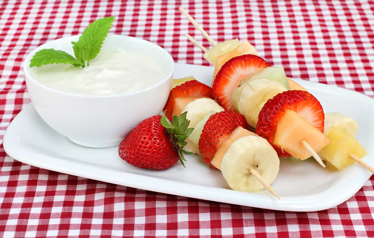 Fresh fruit kabobs and dip