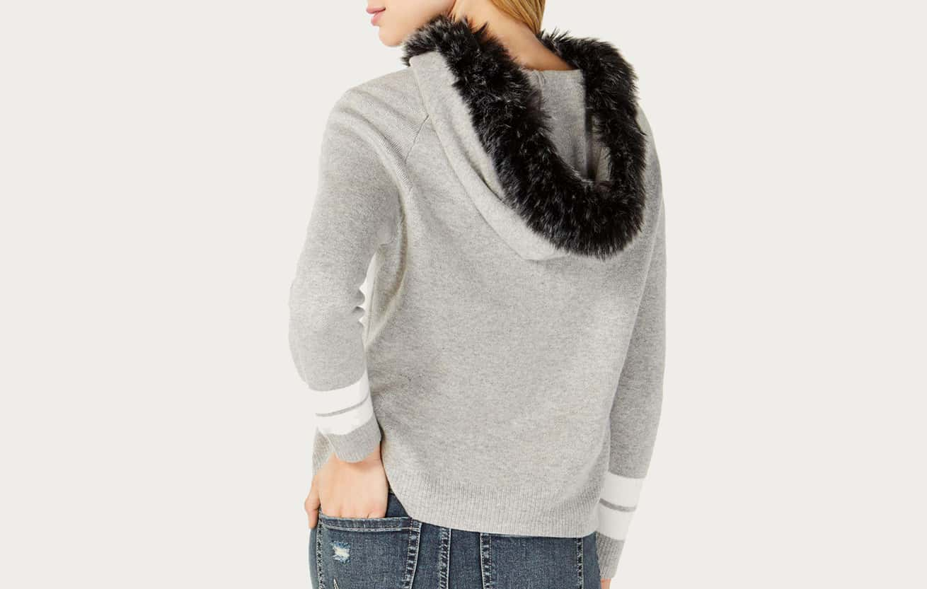 fur trimmed sweater
