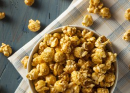 Homemade Golden Caramel Popcorn in a Bowl