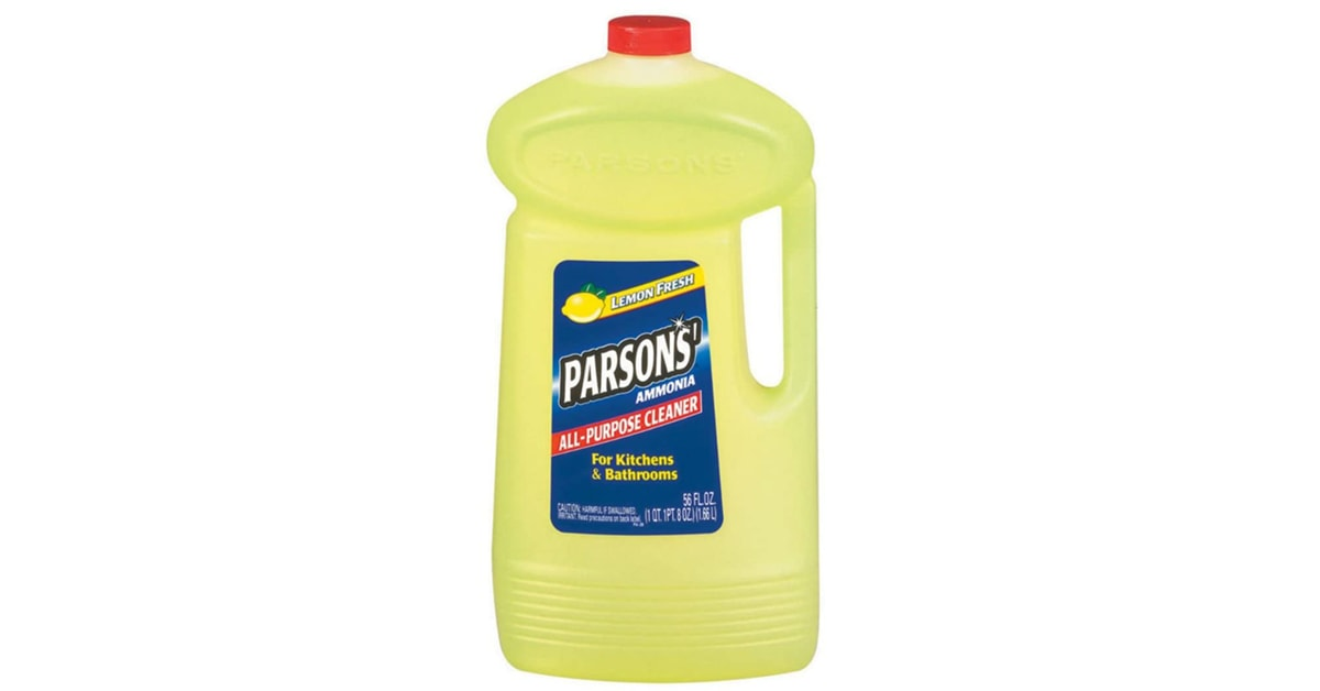 bottle of Parsons household ammonia on white background