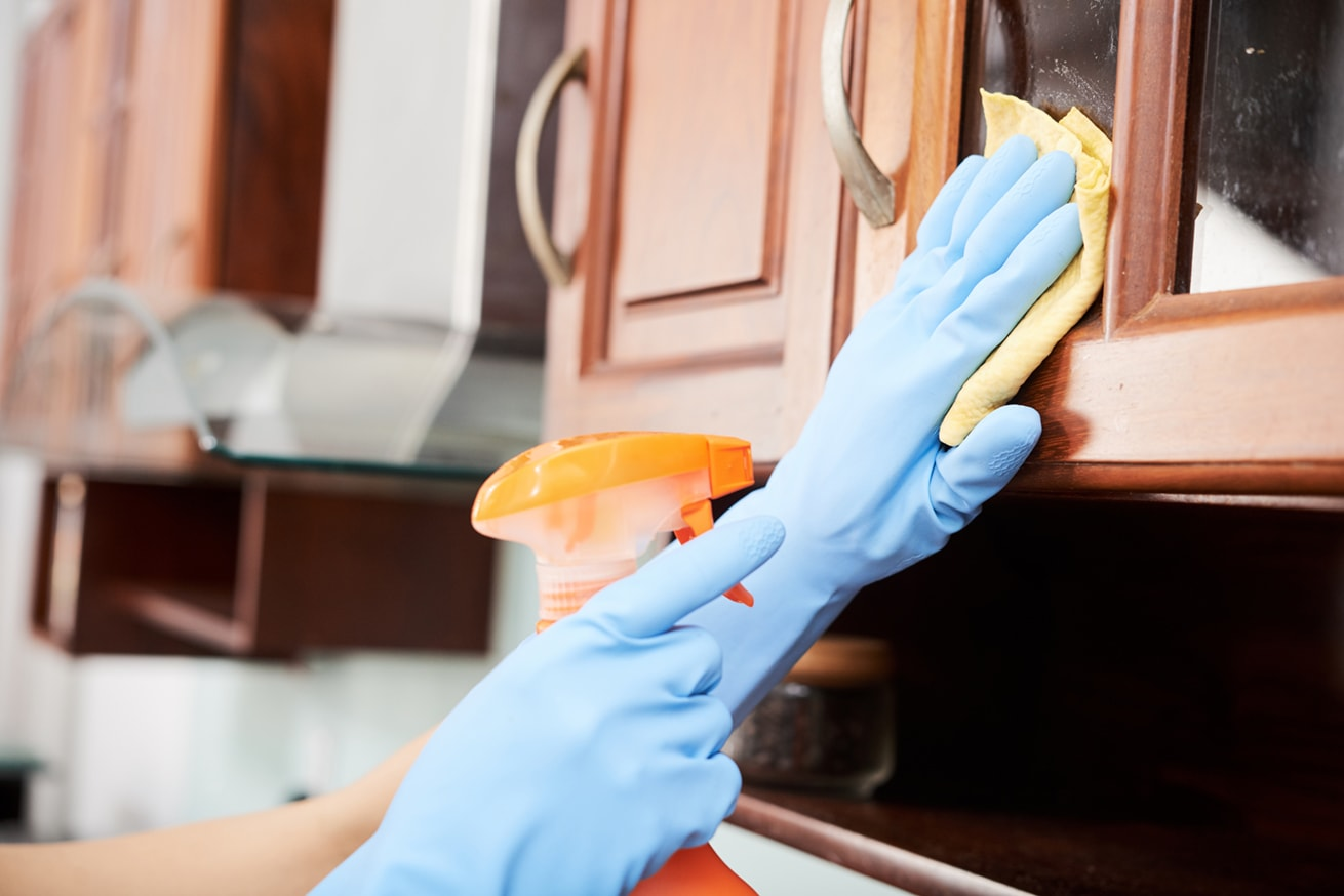 Hands of woman spraying and wiping kitchen cabinets