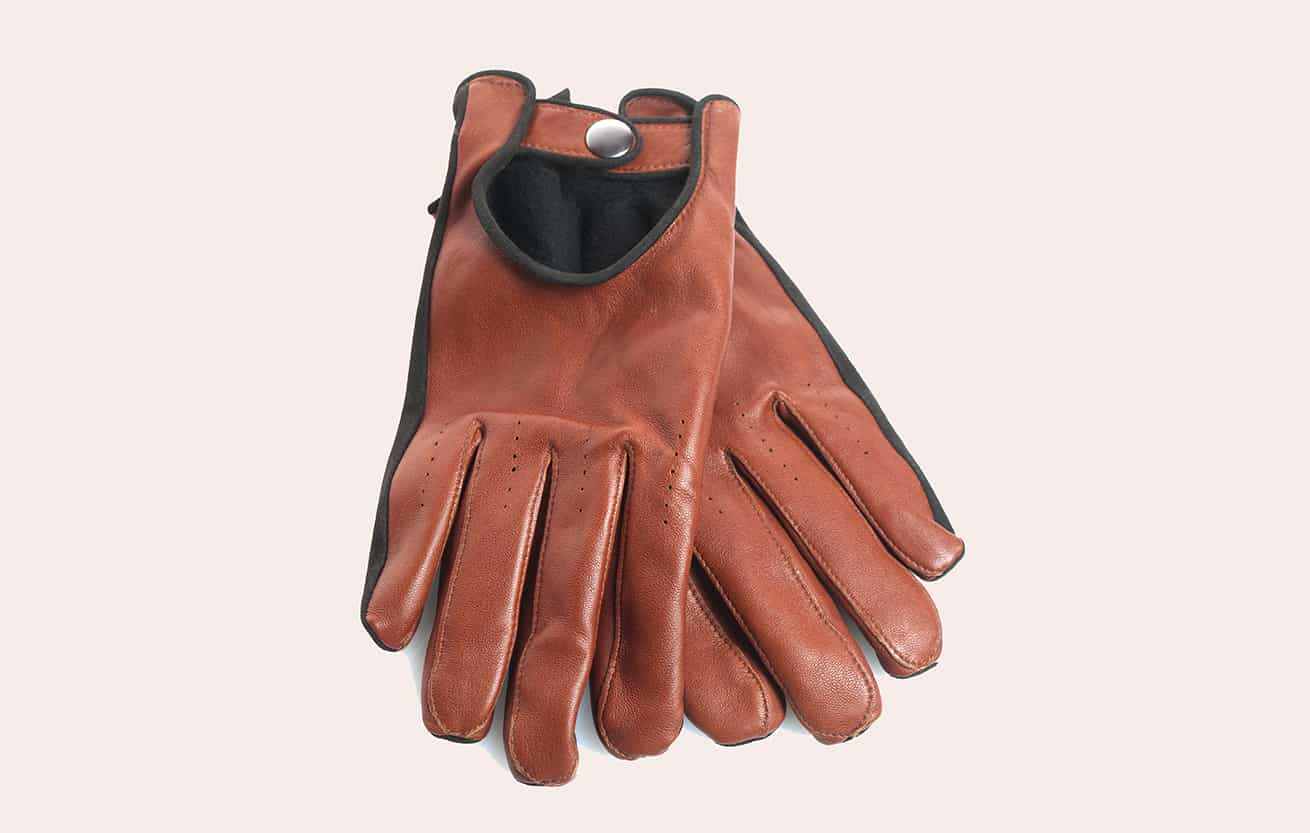Mens brown leather gloves on white background