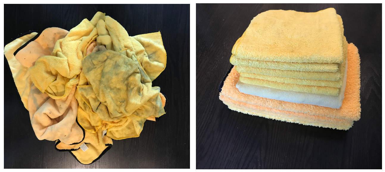 dirty clean microfiber cloths