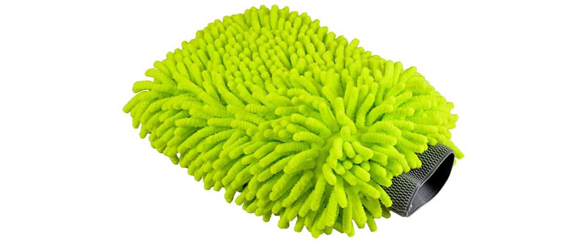 A close up of a car wash mitt