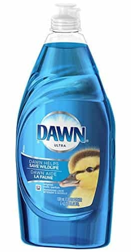 A close up of a bottle blue dawn dishwsashing liquid