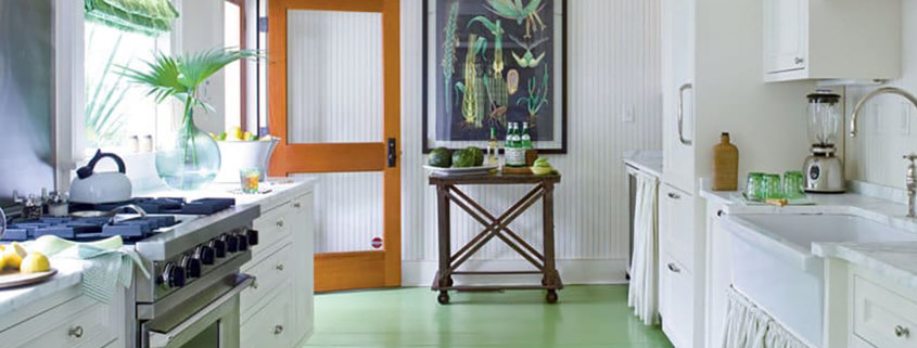 kitchen with green painted floor