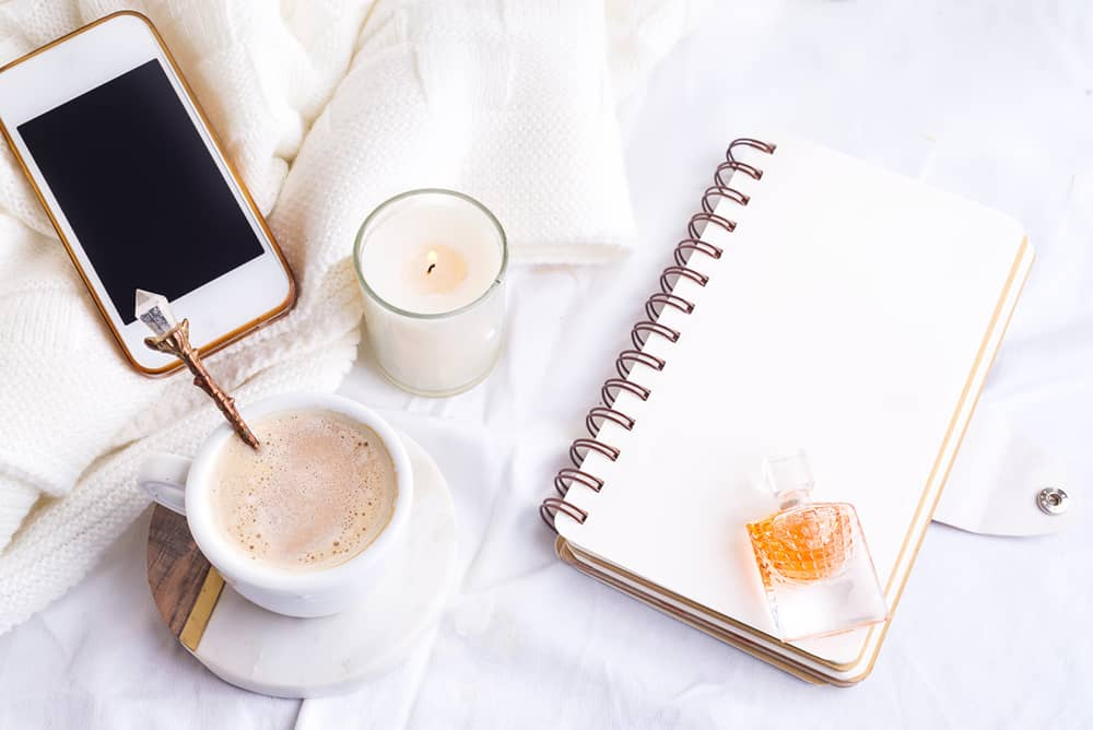 Simplify life concept with phone, coffee, notebook